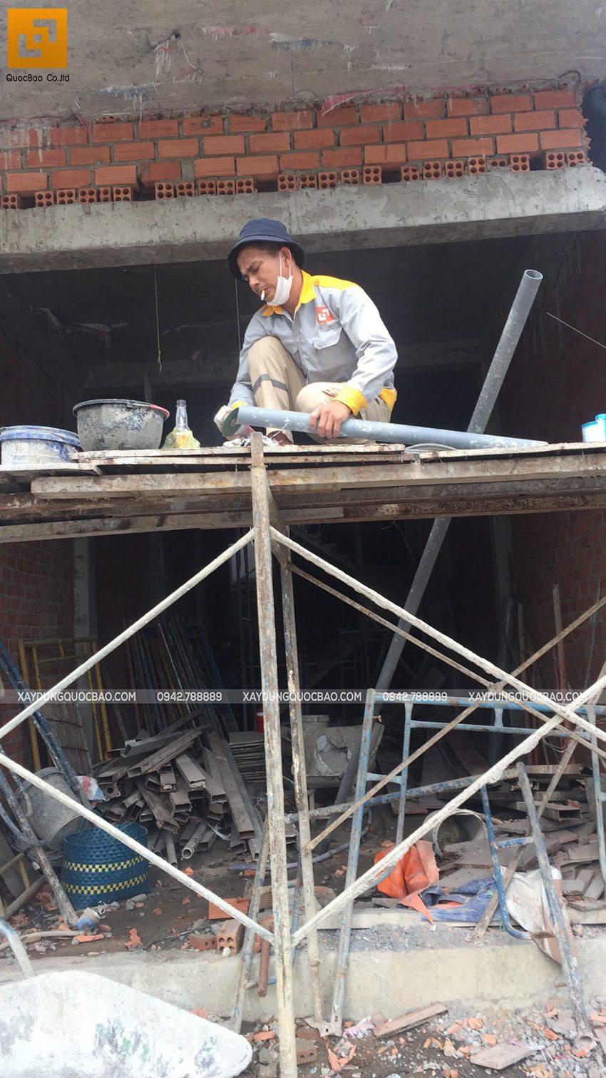 Thi công phần thô lầu 2 nhà 3 tầng