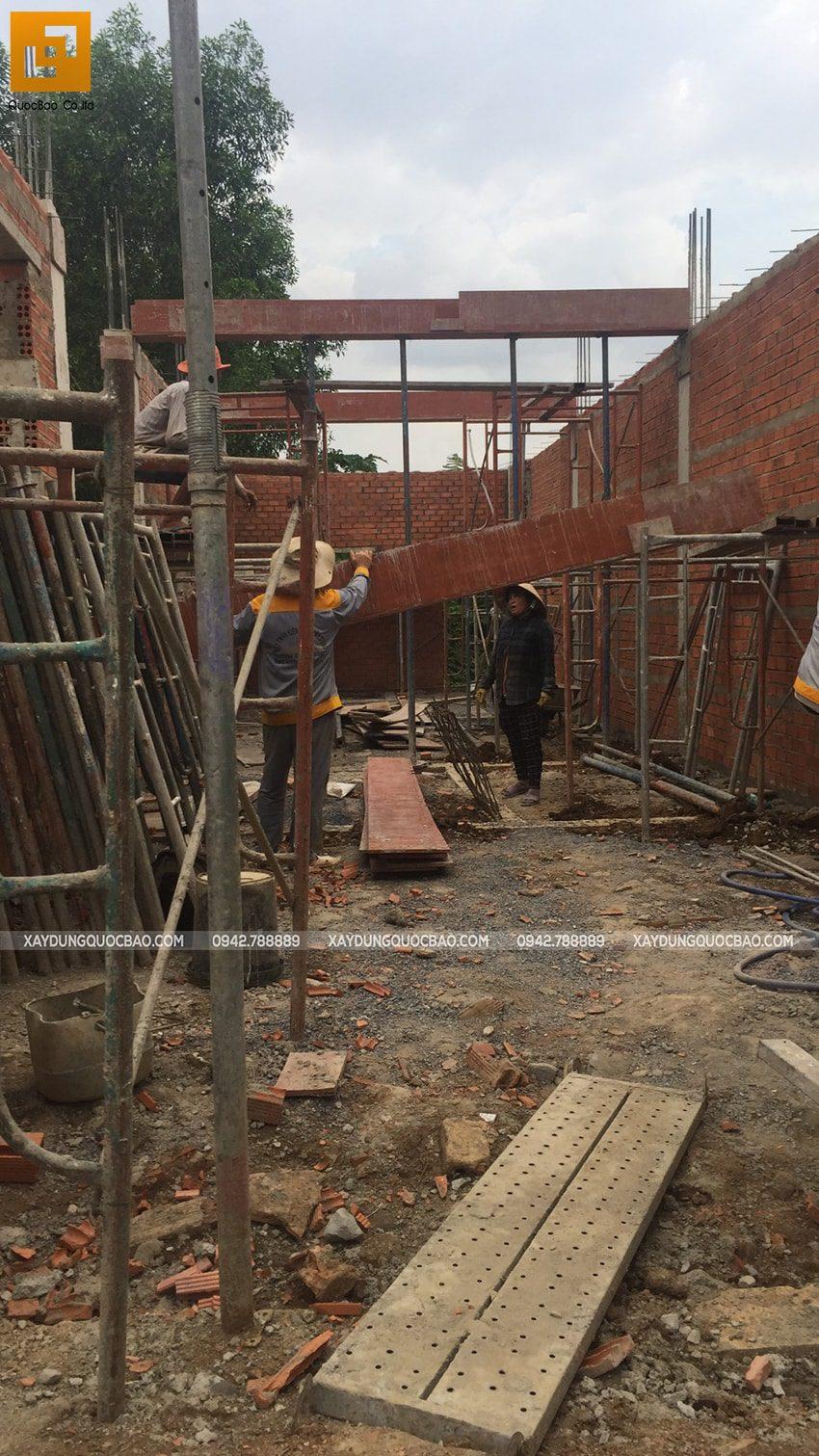 Thi công phần thô nhà 3 tầng mặt tiền 5m tại Bình Dương - Ảnh 10
