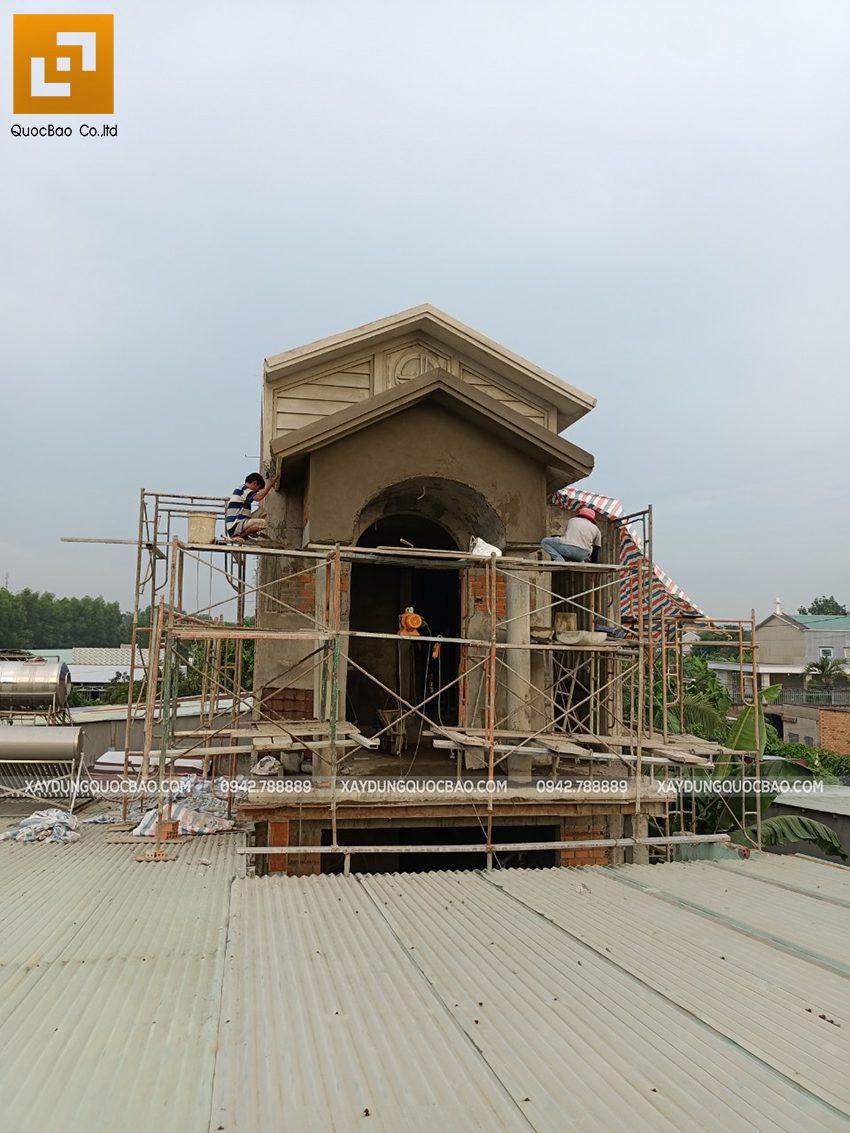 Thi công phần thô lầu 1 nhà mái thái tại Bình Dương - Ảnh 36