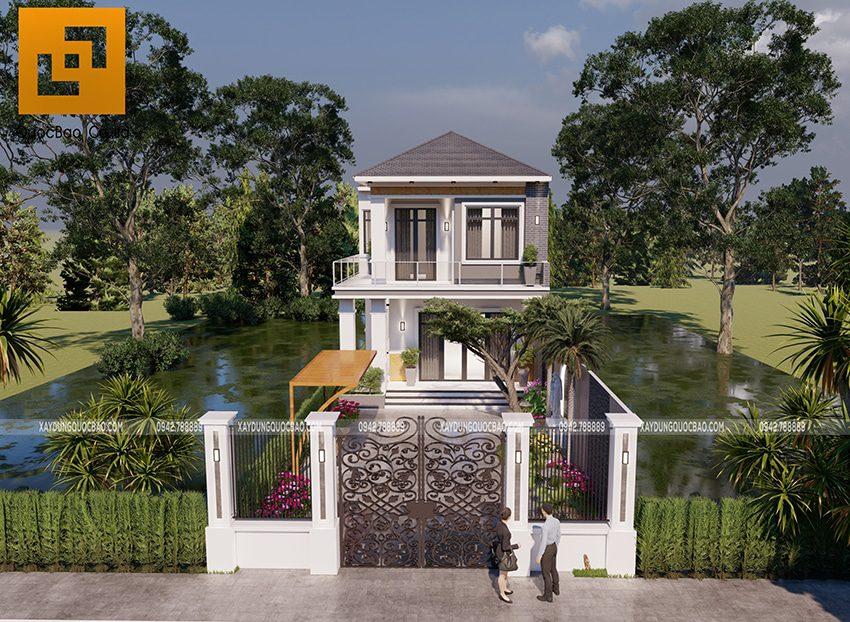 Phối cảnh thiết kế biệt thự hiện đại 2 tầng anh Điển chị Linh tại Vĩnh Cửu - Ảnh 1