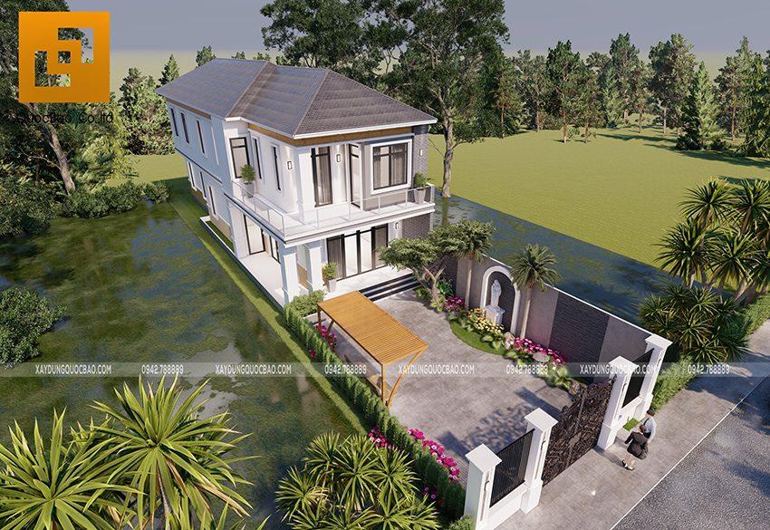 Phối cảnh thiết kế biệt thự hiện đại 2 tầng anh Điển chị Linh tại Vĩnh Cửu - Ảnh 4