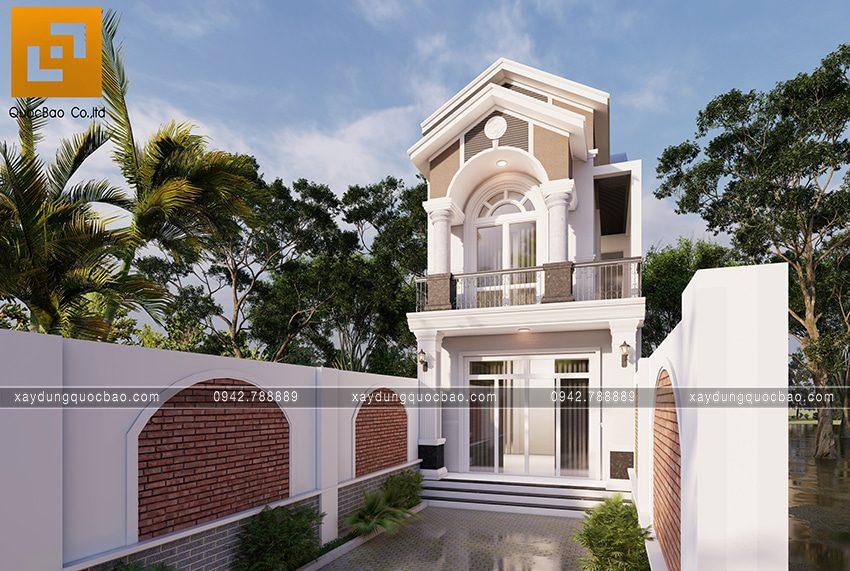 Phối cảnh ngoại thất căn nhà mái thái 2 tầng tại Bình Dương - Ảnh 2