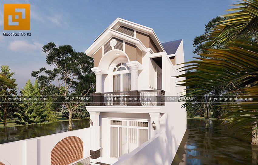 Phối cảnh ngoại thất căn nhà mái thái 2 tầng tại Bình Dương - Ảnh 3