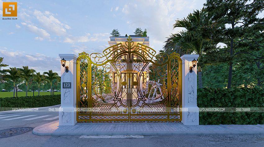Thiết kế cổng mỹ nghệ với hoa văn bắt mắt