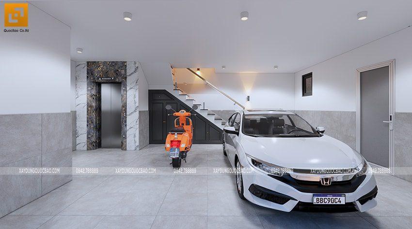 Gara để ô tô rộng rãi, có đủ diện tích cho xe máy