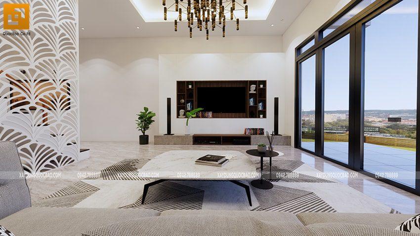 Kệ tivi bố trí ở góc phòng khách