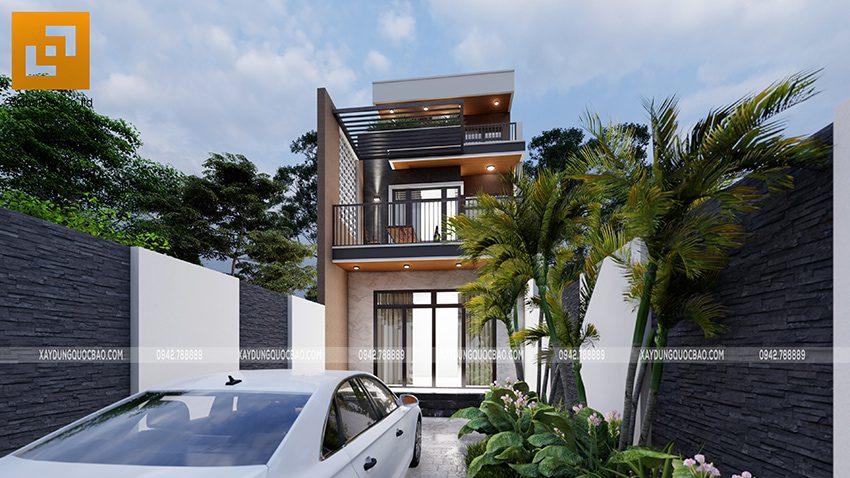 Phối cảnh thiết kế ngoại thất nhà 3 tầng của gia đình chú Thắng - Ảnh 8