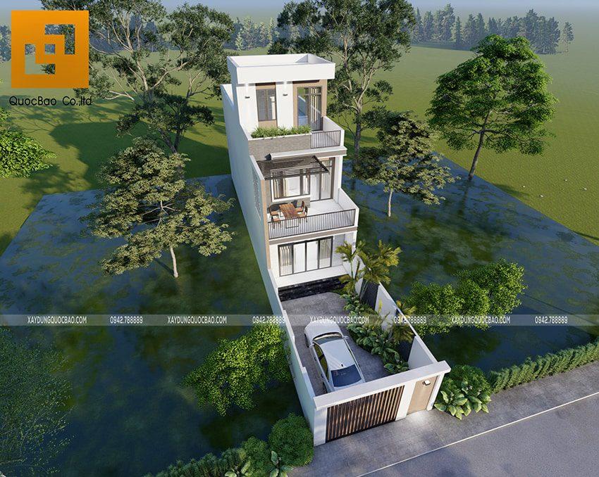 Phối cảnh thiết kế ngoại thất nhà 3 tầng của gia đình chú Thắng - Ảnh 4