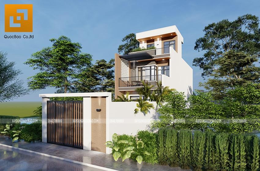Phối cảnh thiết kế ngoại thất nhà 3 tầng của gia đình chú Thắng - Ảnh 2