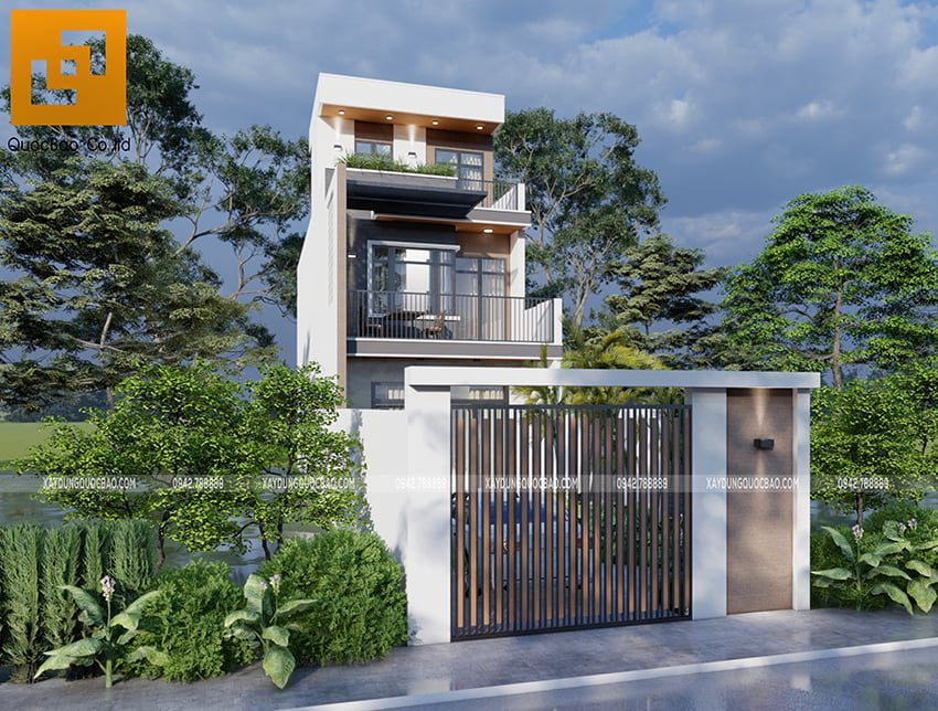 Phối cảnh thiết kế ngoại thất nhà 3 tầng của gia đình chú Thắng - Ảnh 1