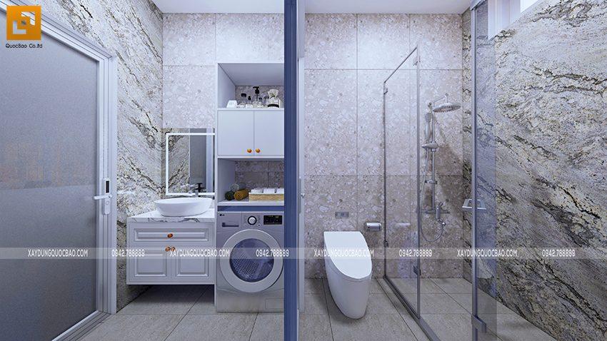 Khu vực bố trí phơi giặt và phòng vệ sinh