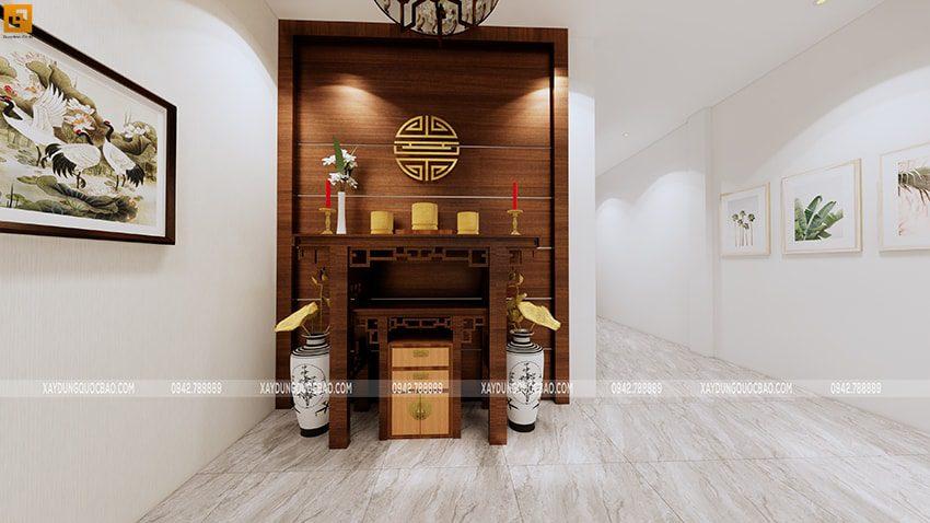 Phòng thờ trang nghiêm với bộ lục bình phong thủy đặt hai bên