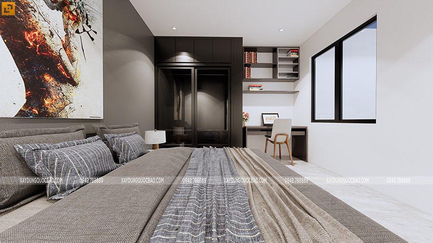Phòng ngủ master được bố trí ở tầng trệt để gia chủ dễ dàng di chuyển