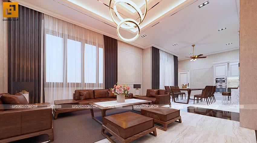Phối cảnh thiết kế nội thất phòng khách - Ảnh 3