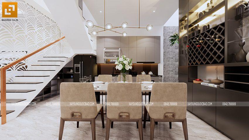 Nhà bếp thiết kế ngăn với phòng khách