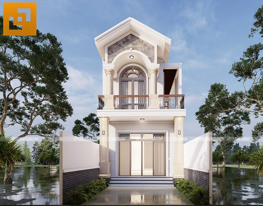 Phối cảnh nhà mái thái 2 tầng đẹp tại Vĩnh Cửu của gia đình anh Nhân