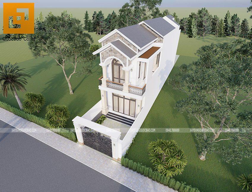Phối cảnh ngoại thất nhà 2 tầng đẹp tại Vĩnh Cửu - Ảnh 4
