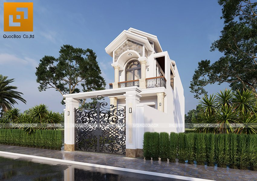 Phối cảnh ngoại thất nhà 2 tầng đẹp tại Vĩnh Cửu - Ảnh 2