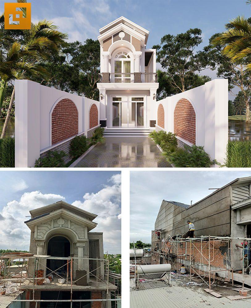 Nhà mái thái 2 tầng mặt tiền 5m tại Bình Dương của gia đình anh Tín