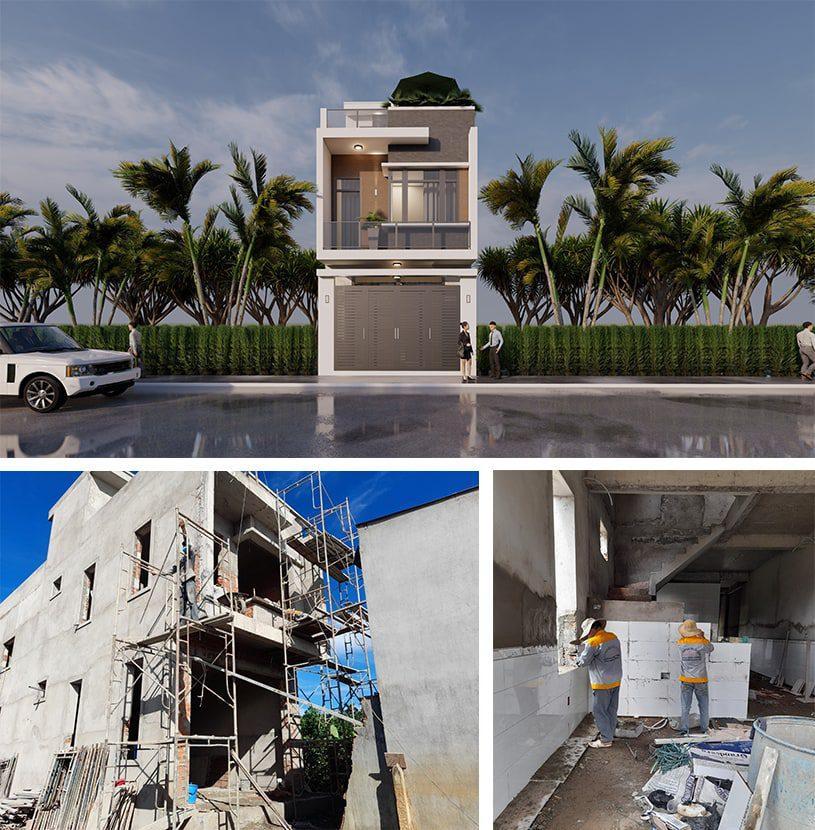 Nhà phố hiện đại 3 tầng mặt tiền 5m đẹp tại Bình Dương của anh Minh