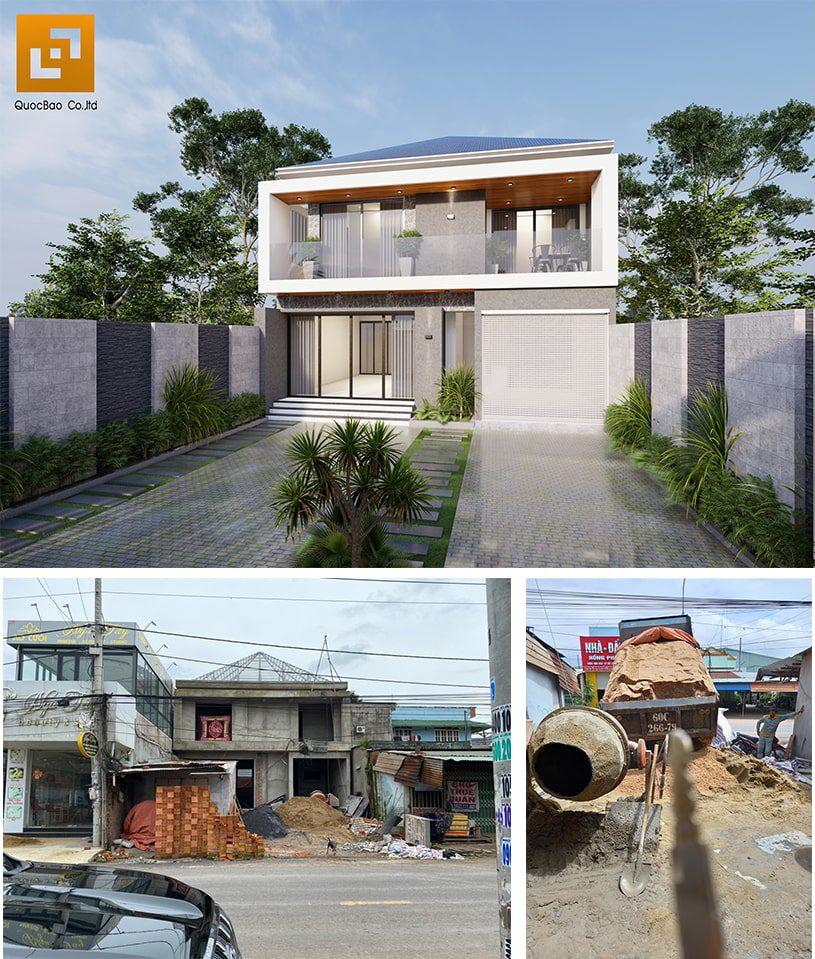 Biệt thự 2 tầng mái Nhật có gara tại Trảng Bom của GĐ anh Phong